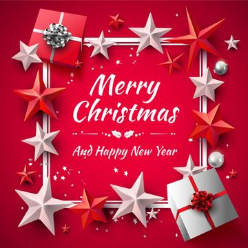 Merry Christmas Greeting with Gifts on Red