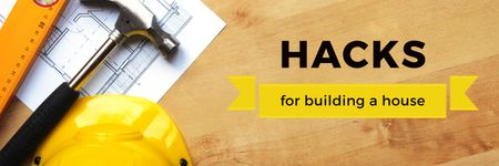 Hacks for building a house poster Twitter Tasarım Şablonu