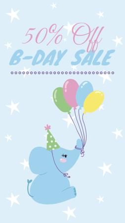 Designvorlage Funny elephant with balloons for Birthday sale für Instagram Story