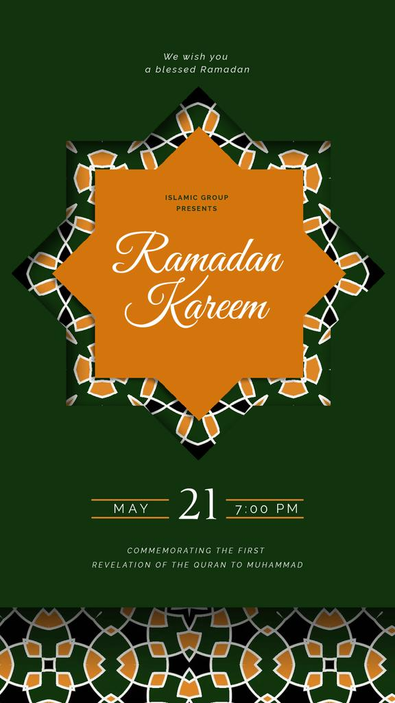 Ramadan Kareem Greeting Kaleidoscope on Green — Create a Design