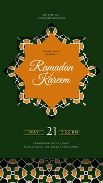 Ramadan Kareem Greeting Kaleidoscope on Green | Vertical Video Template