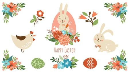 Ontwerpsjabloon van Full HD video van Easter Greeting Bunny with Chicken and Flowers