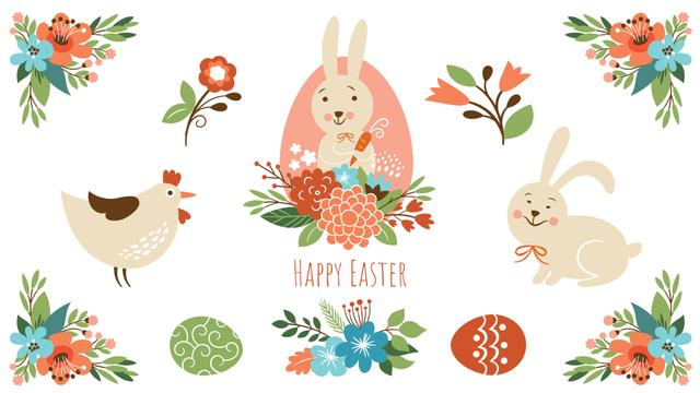 Easter Greeting Bunny with Chicken and Flowers Full HD video Tasarım Şablonu
