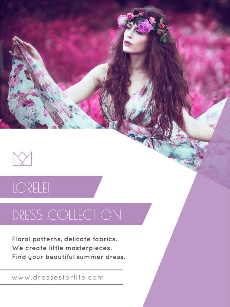 Fashion Ad with Woman in Floral Dress in Purple — Maak een ontwerp