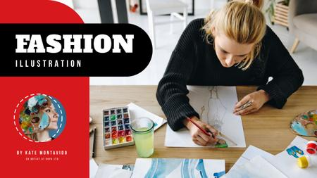 Fashion Illustration Classes Designer with Collection Drawings Youtube Thumbnail – шаблон для дизайну