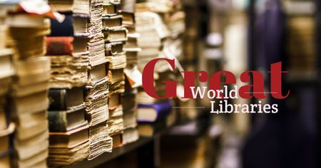 Plantilla de diseño de World Libraries Ad with Old books on shelf Facebook AD