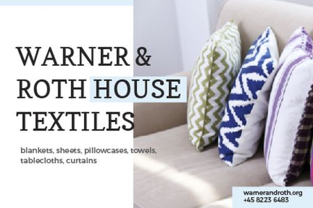 House Textiles with Cozy Pillows Gift Certificate – шаблон для дизайна