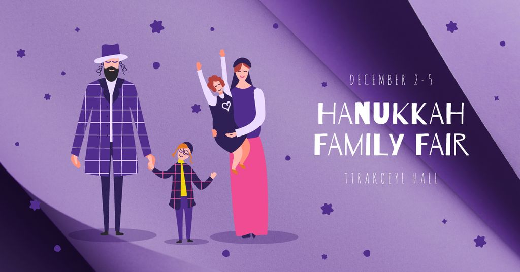 Family celebrating Hanukkah — Create a Design