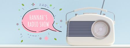 Plantilla de diseño de Retro radio with speech bubble Facebook Video cover