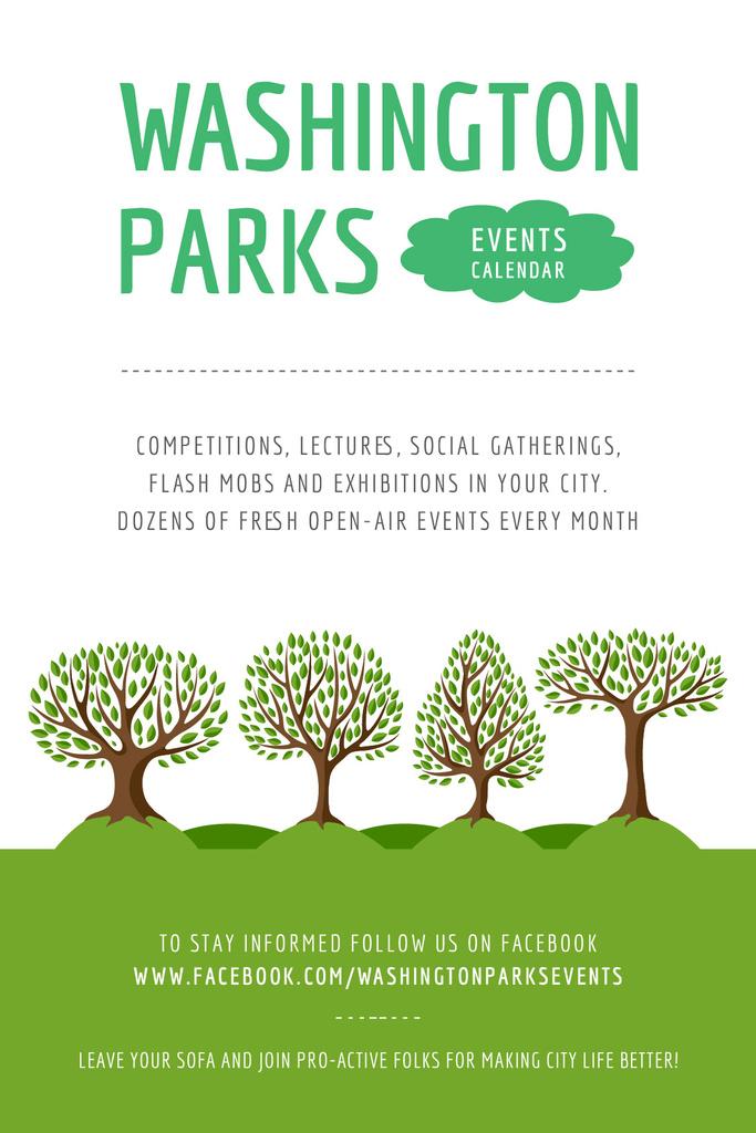 Park Event Announcement Green Trees   Tumblr Graphics Template — Maak een ontwerp