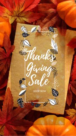 Template di design Thanksgiving sale offer on Pumpkins Instagram Story