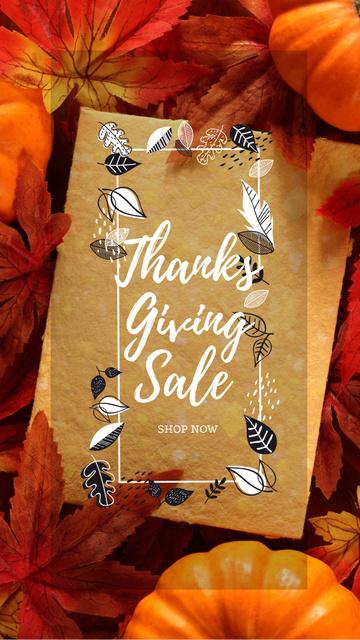 Thanksgiving sale offer on Pumpkins Instagram Story Modelo de Design