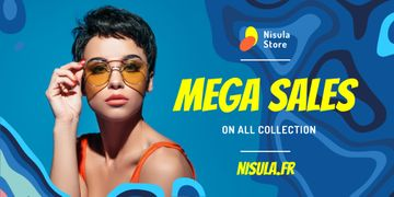 Sunglasses Ad Beautiful Girl in Blue Waves