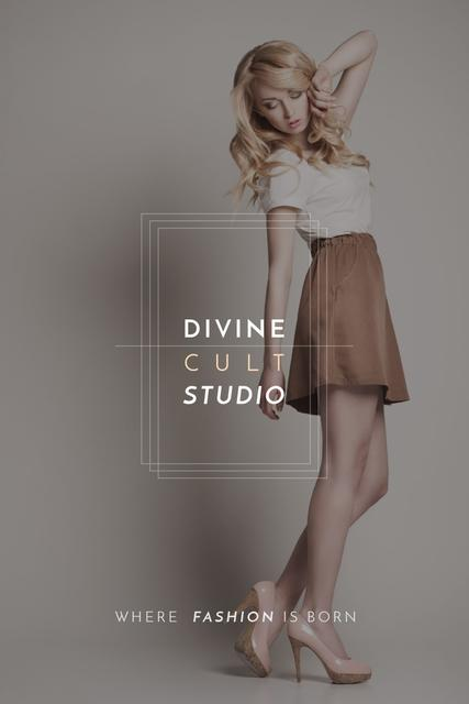 Beauty Studio Ad with Beautiful Blonde Pinterest Tasarım Şablonu