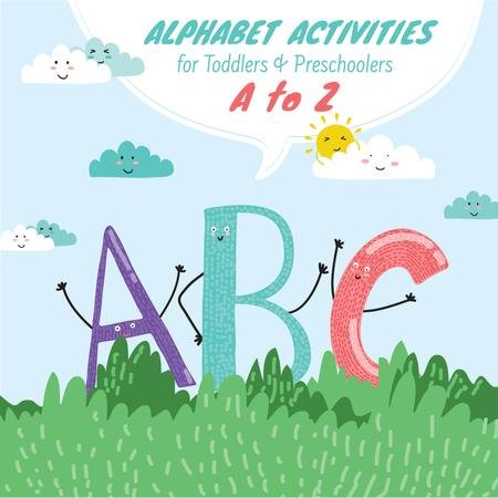 ABC funny letters for kids Instagram AD Modelo de Design