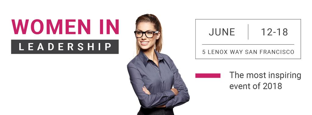Business Event Announcement Smiling Businesswoman | Facebook Cover Template — Create a Design