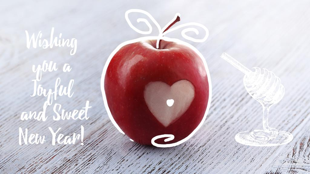 Rosh Hashanah apple with heart symbol — ein Design erstellen