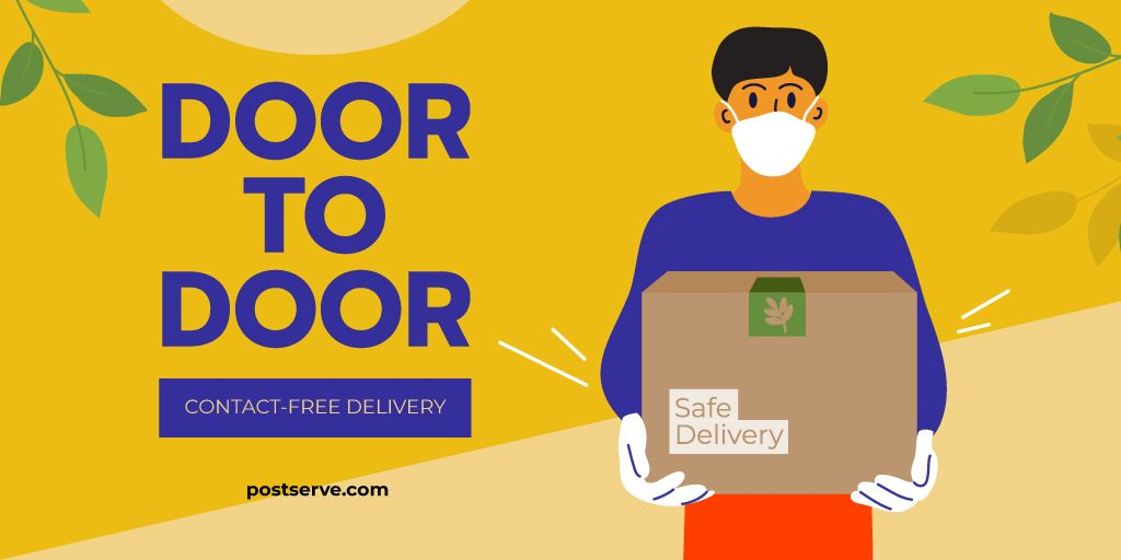 Delivery services Ad with Сourier in medical mask — Create a Design