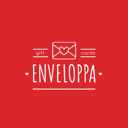 Ontwerpsjabloon van Animated Logo van Envelope with Heart Sign in Red