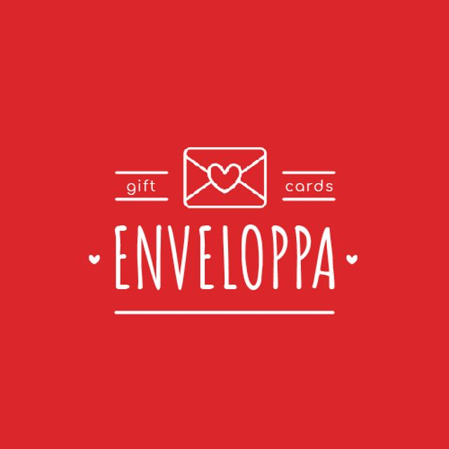 Template di design Envelope with Heart Sign in Red Animated Logo