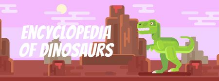 Tyrannosaur Rex stomping in Jurassic landscape Facebook Video cover Modelo de Design