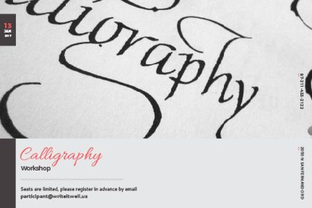 Calligraphy workshop Annoucement Gift Certificate – шаблон для дизайна