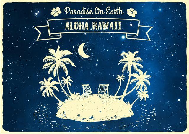 Night Island with Palms illustration Card Modelo de Design