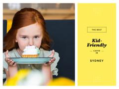 Kids Cafe List with Girl Holding Cupcake on Plate