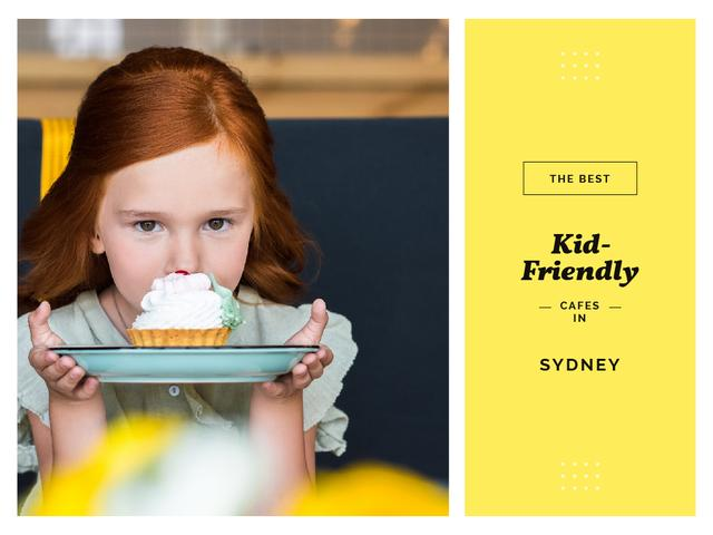Kids Cafe List with Girl Holding Cupcake on Plate Presentation Design Template