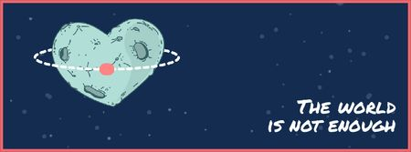 Plantilla de diseño de Heart-Shaped Planet in Space Facebook Video cover
