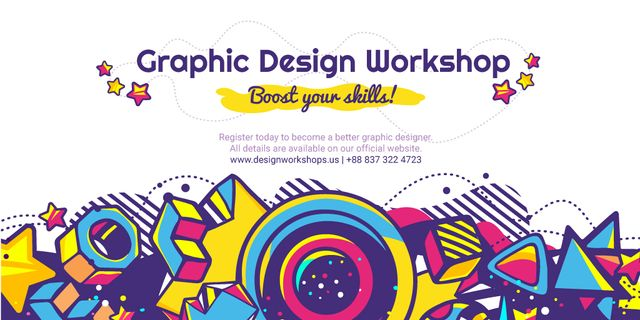 Graphic design workshop Twitter – шаблон для дизайна