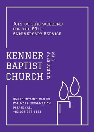 Church invitation with Candles in frame Invitation – шаблон для дизайну