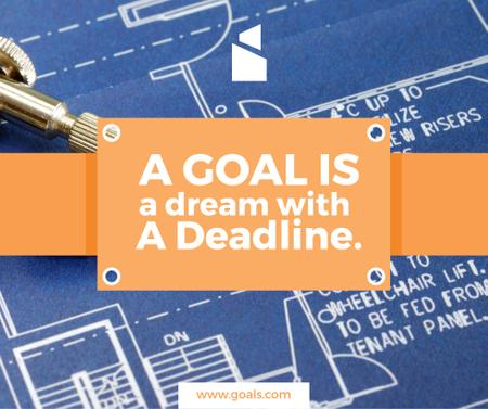 Ontwerpsjabloon van Facebook van Goal motivational quote on blueprint