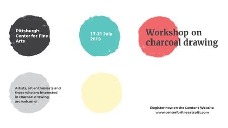 Plantilla de diseño de Charcoal Drawing Workshop colorful spots FB event cover