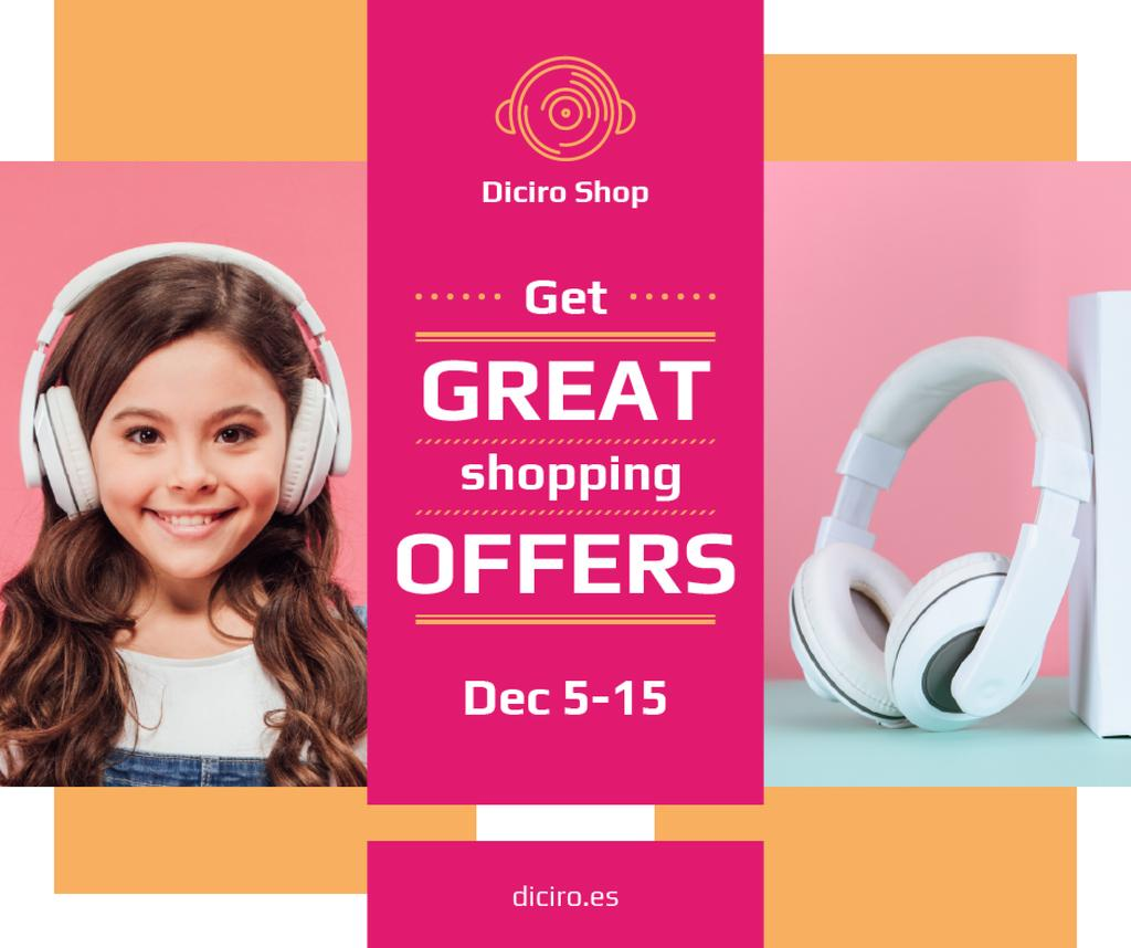 Gadgets Sale Girl in Headphones in Pink — ein Design erstellen