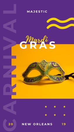 Ontwerpsjabloon van Instagram Story van Mardi Gras carnival mask