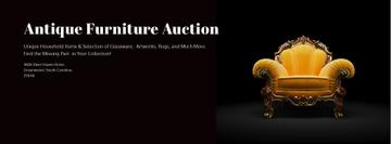 Antique Furniture Auction Luxury Yellow Armchair | Facebook Cover Template