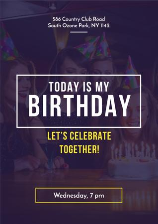 Birthday party with People celebrating Poster – шаблон для дизайна