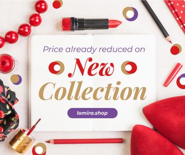 Makeup Offer Red Cosmetics Set | Facebook Post Template