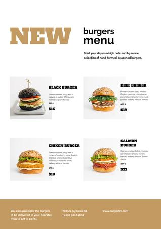 Ontwerpsjabloon van Menu van Variety of delicious Burgers