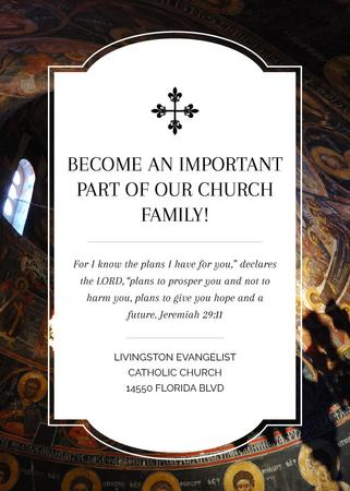Church Invitation Old Cathedral View Flayer – шаблон для дизайну