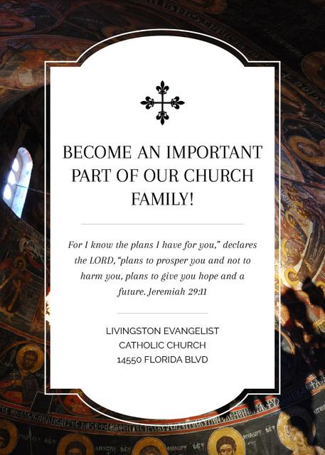 Church Invitation Old Cathedral View Flayer – шаблон для дизайна