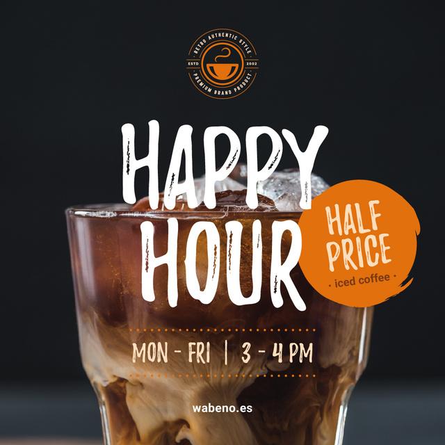 Coffee Shop Happy Hour Offer Iced Latte in Glass Instagram AD Tasarım Şablonu