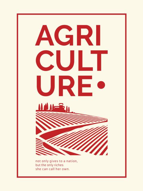 Agriculture company Ad Red Farmland Landscape Poster US Modelo de Design