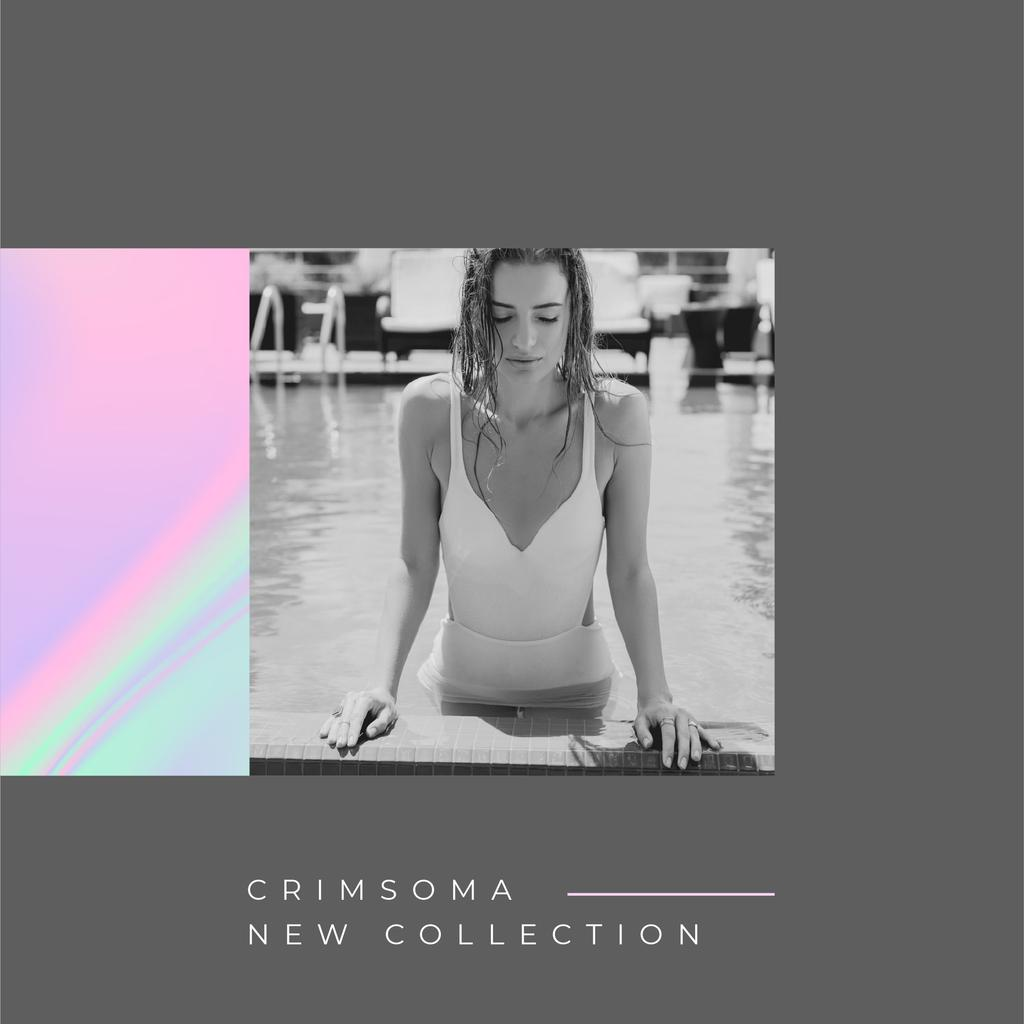 Summer Collection announcement with Woman in Pool —デザインを作成する