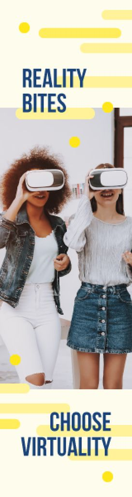 Virtuality Quote Women Using Vr Glasses — Crea un design