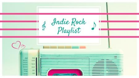 Music Playlist Ad Retro Radio in Mint Color Youtube Thumbnail Tasarım Şablonu