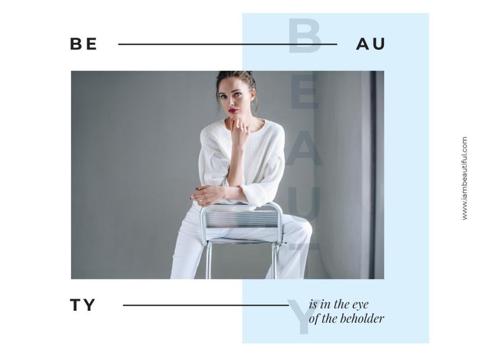 Young woman wearing white clothes — Create a Design