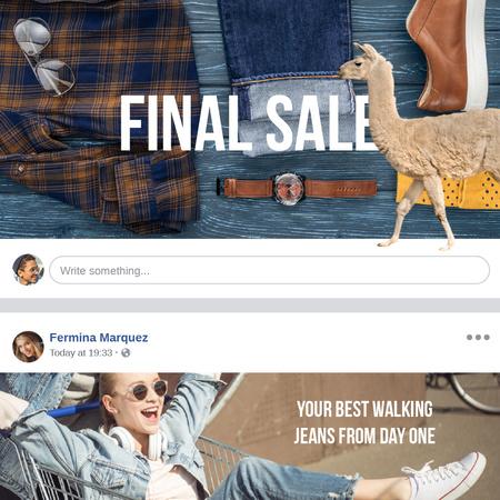 Plantilla de diseño de Clothes Sale with Happy Woman in sunglasses Animated Post
