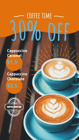 Coffee Shop Promotion with Latte in Cups Instagram Story Modelo de Design